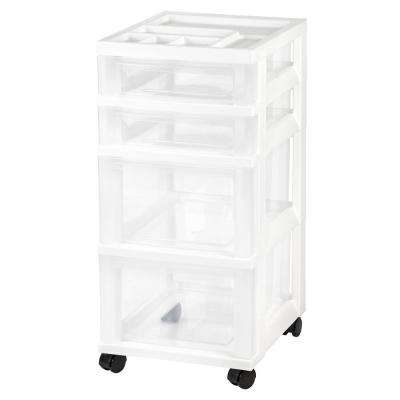 4 Drawer Rolling Storage Cart in White