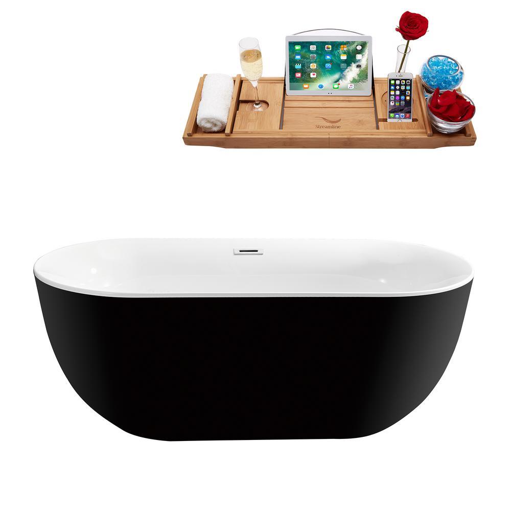 59.1 in. Acrylic Flatbottom Non-Whirlpool Bathtub in Glossy Black