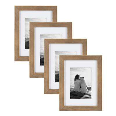 Gallery 5 in. x 7 in. matted to 3.5 in. x 5 in. Rustic Brown Wood Picture Frame (Set of 4)
