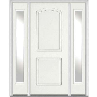 68.5 in. x 81.75 in. 2 Panel Archtop Painted Fiberglass Smooth Exterior Door with Sidelites
