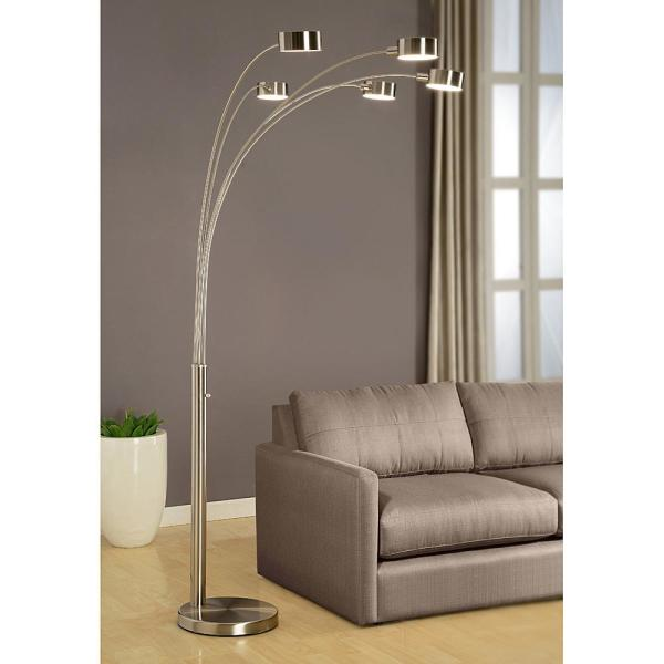 Artiva Micah Modern Arched 88 In Brushed Steel 5 Light Floor Lamp A207901sn The Home Depot