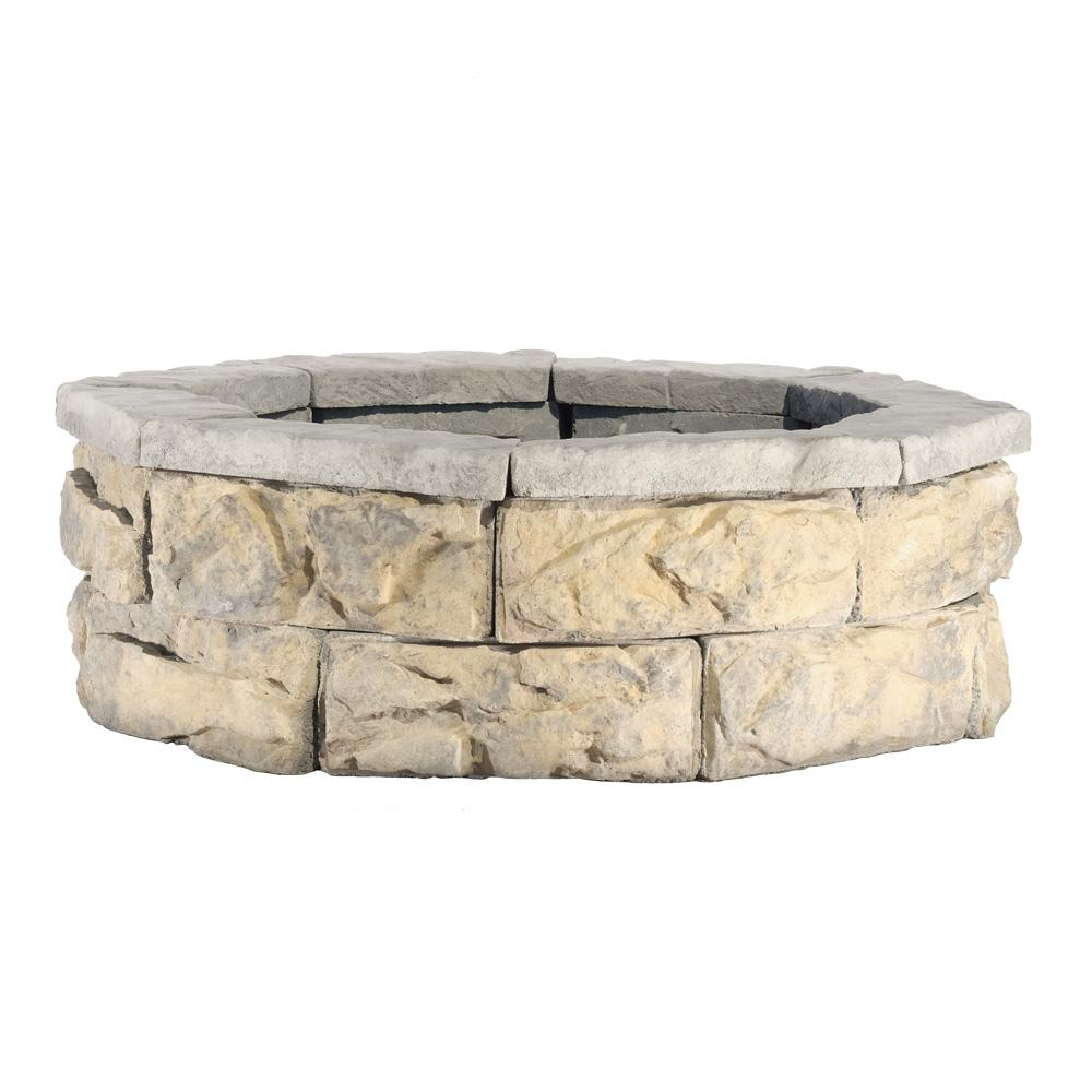Fossill Limestone Fire Pit Kit-FSFPLS30 - The Home Depot - Natural Concrete Products Co 30 In. Fossill Limestone Fire Pit Kit