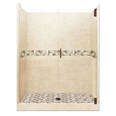 Tuscany Grand Hinged 42 in. x 60 in. x 80 in. Center Drain Alcove Shower Kit in Desert Sand and Old Bronze Hardware