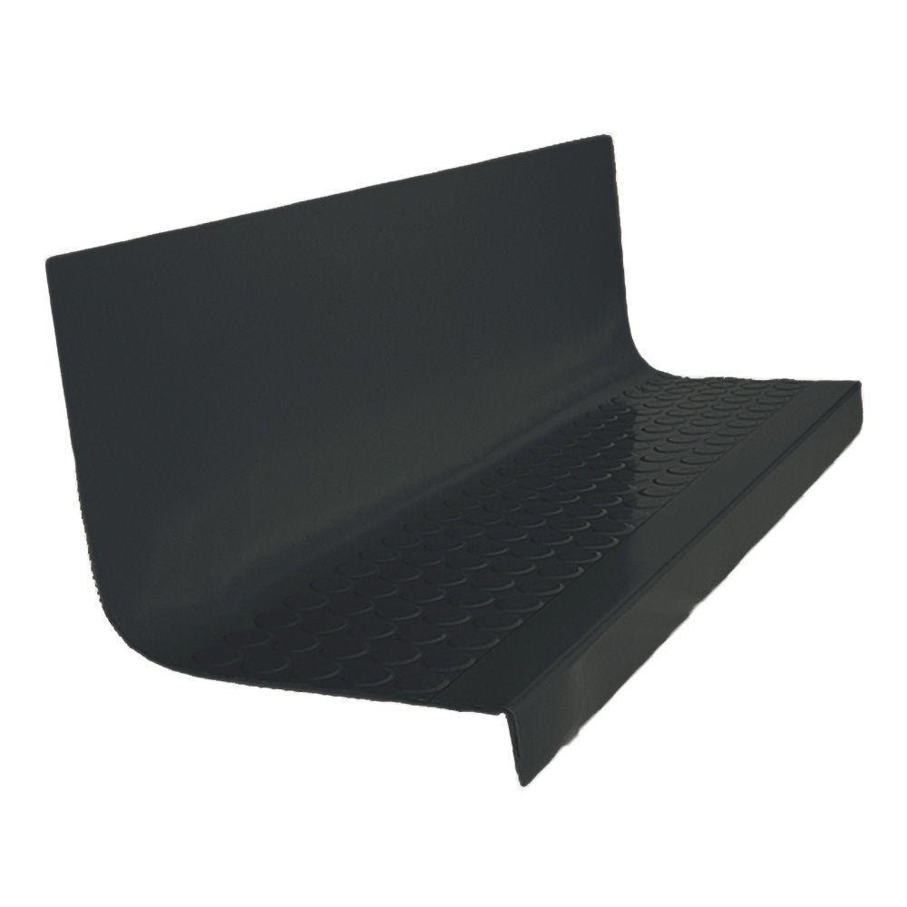 Vantage Profile Raised Circular Design 1-Piece Tread and Riser Black 20-7/16 in. x 42 in. Rubber Square Nose Stair Tread