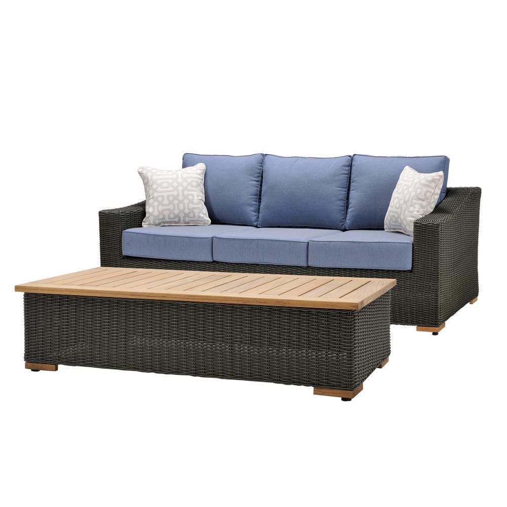 New Boston 2-Piece Wicker Outdoor Sofa and Coffee Table Set with Sunbrella Spectrum Denim Cushion