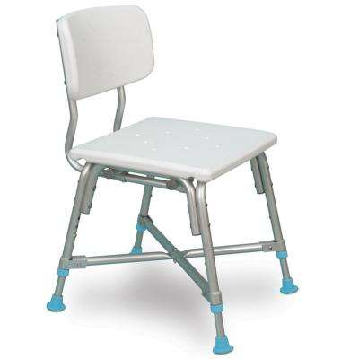 Adjustable Bariatric Bath Bench with Non-Slip Seat and Backrest, Off White