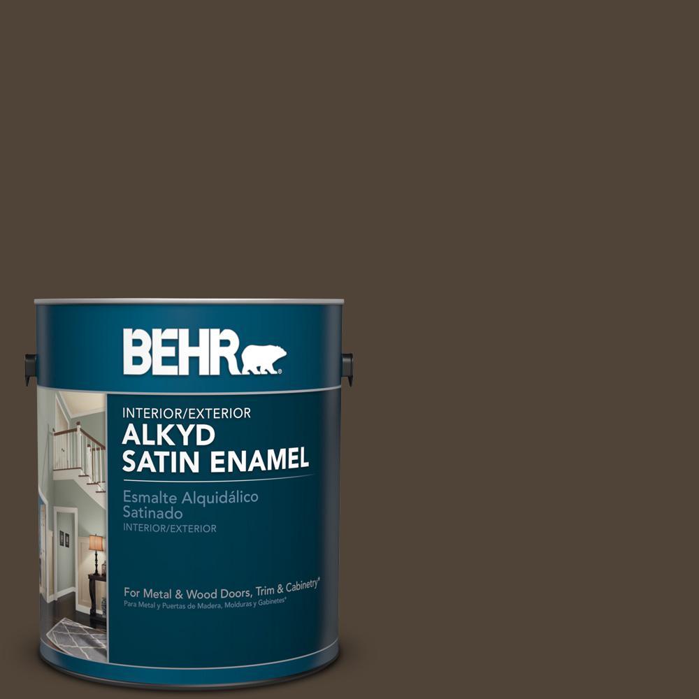 1 gal. #790B-7 Bitter Chocolate Satin Enamel Alkyd Interior/Exterior Paint