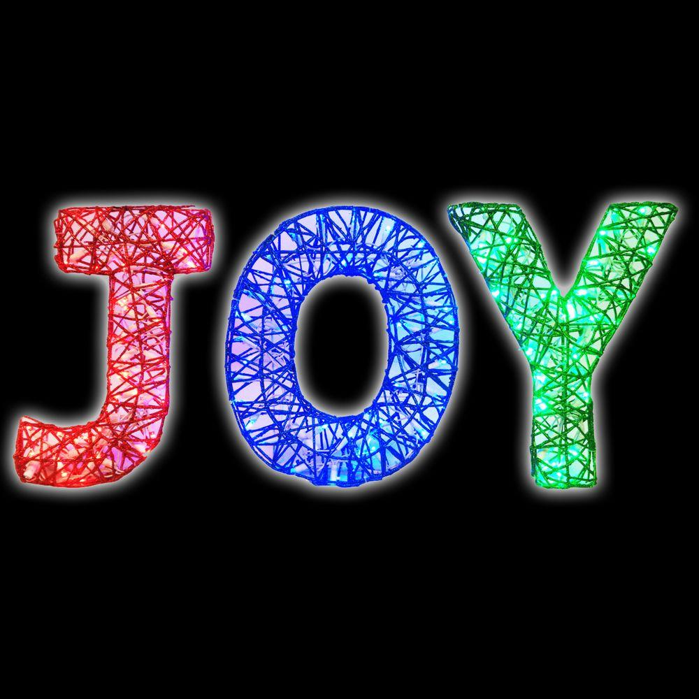 100 light spun glitter joy silhouette - Joy Outdoor Christmas Decoration