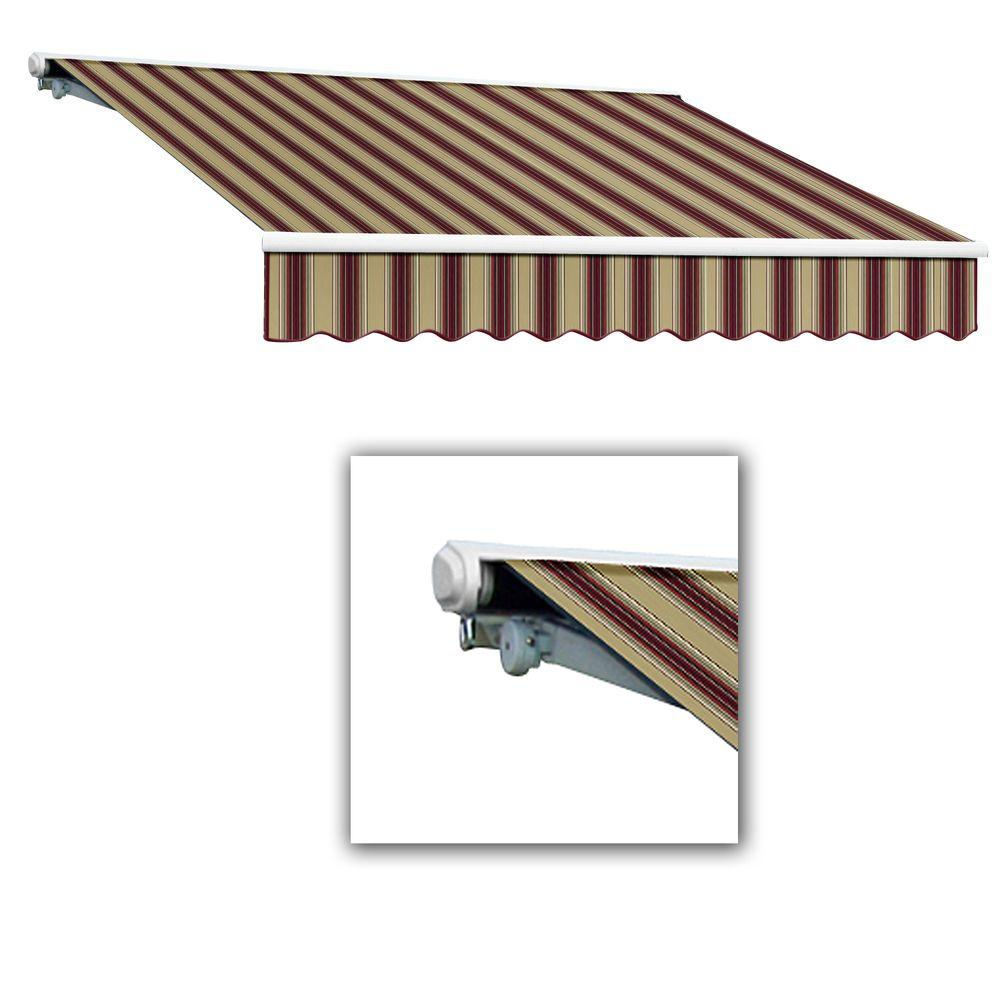 AWNTECH 12 ft. Galveston Semi-Cassette Right Motor with Remote Retractable Awning (120 in. Projection) in Burgundy/Tan Multi
