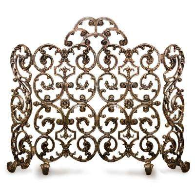 Avalon Bronze 2-Panel 46 in. W Fireplace Screen with Arch and Sides
