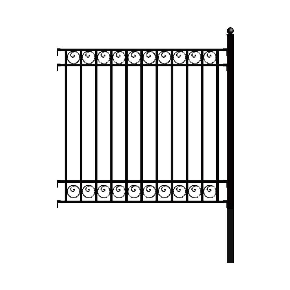 Dublin Style 5 ft. x 5.5 ft. Black DIY Iron Fence Panel