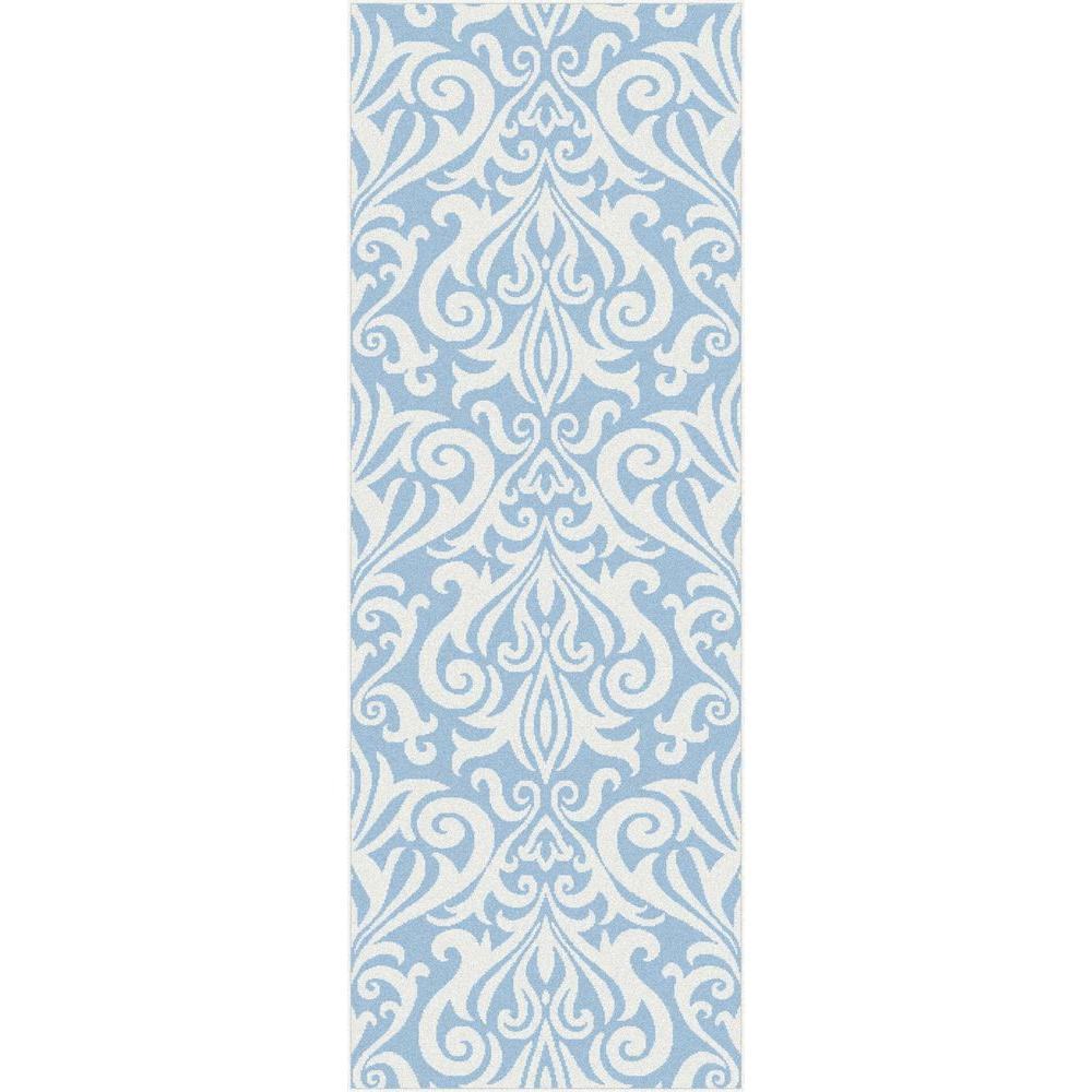 Tayse Rugs Metro Blue 2 ft. 7 in. x 7 ft. 3 in. Contemporary Rug Runner