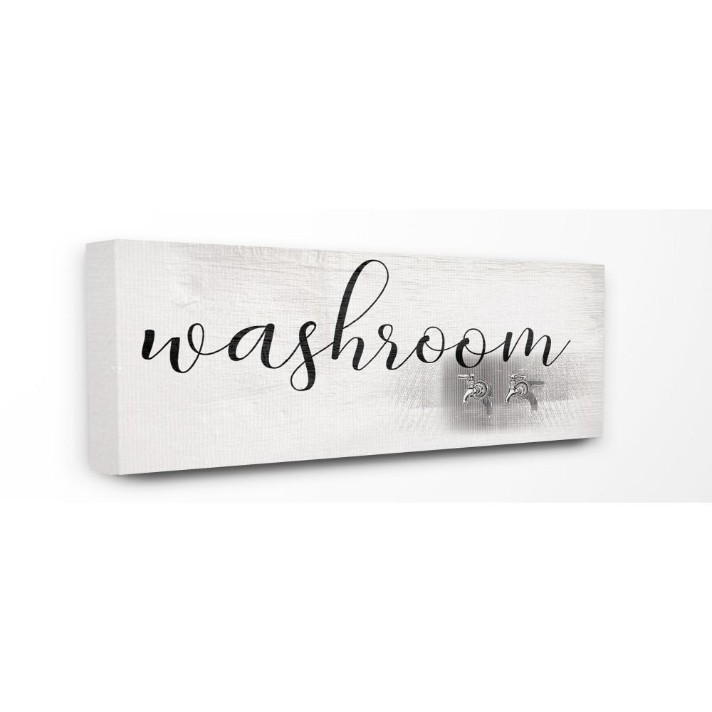 "10 in. x 24 in. ""Washroom Faucet Illustration Script Typography Sign"""