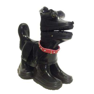 15 in. Buster the Boot Buddies Dog Sculpture and Planter Home and Garden Loyal Companion Black Gloss Statue