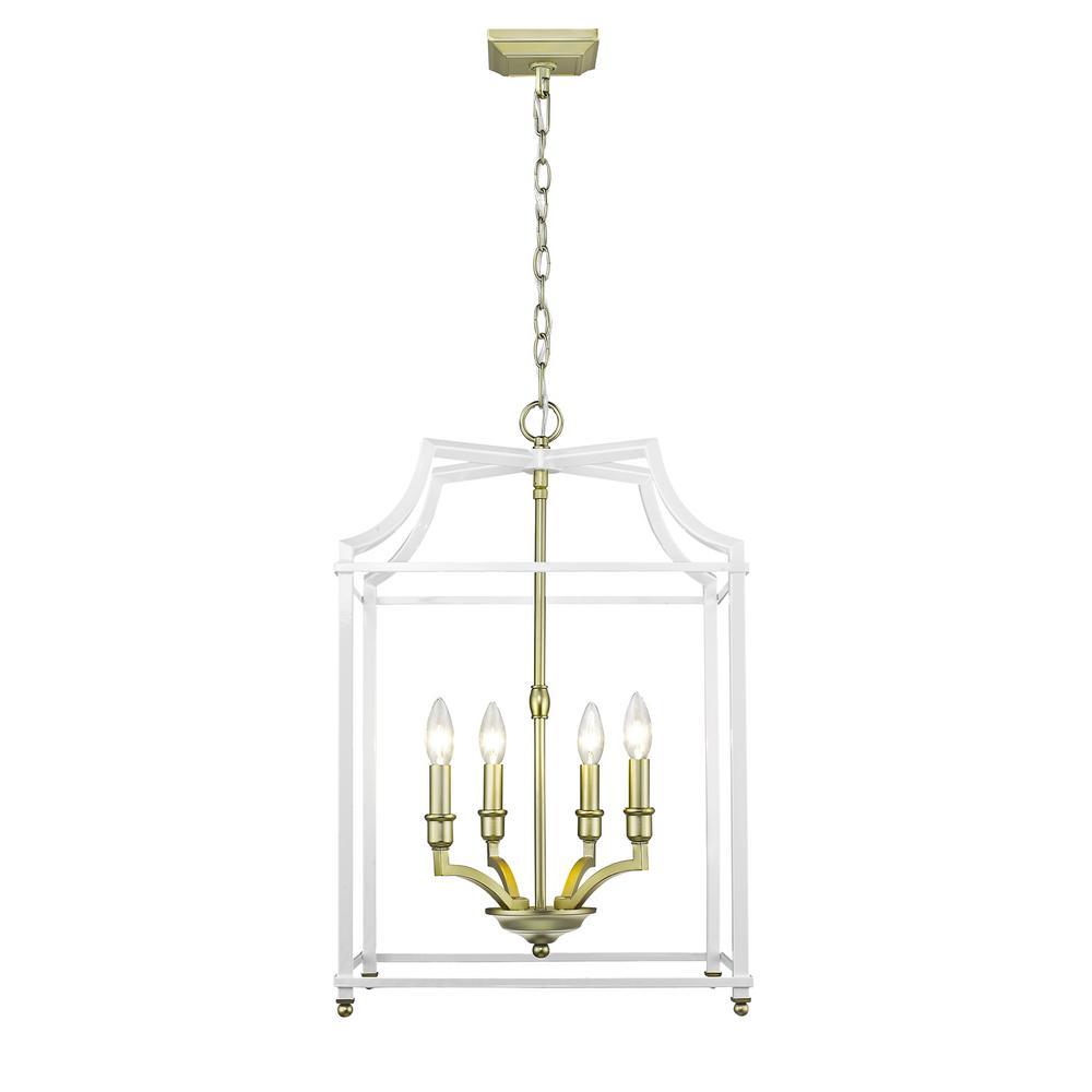 Leighton 4-Light Satin Brass and White Pendant Light