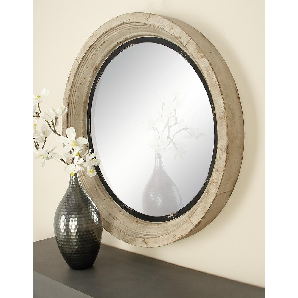 Litton Lane Round Vintage White Wall Mirror