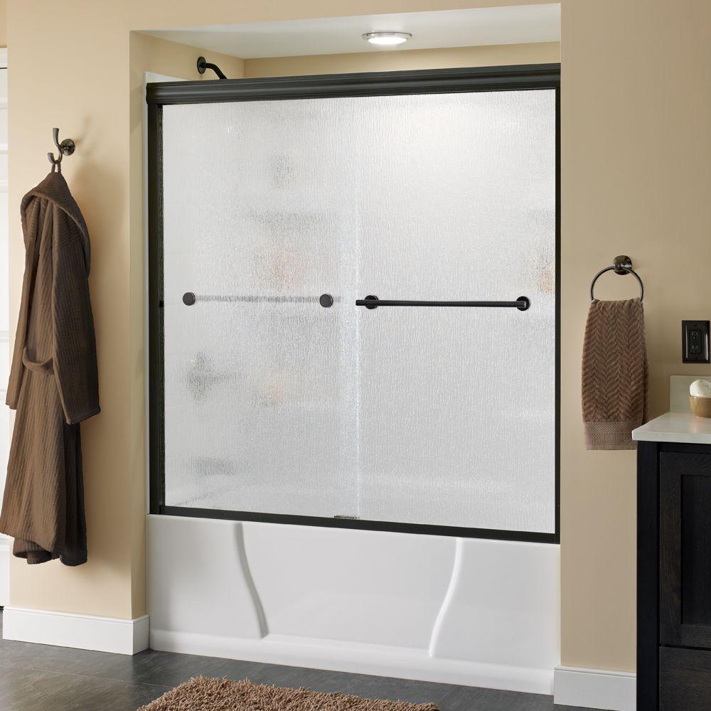 Delta Lyndall 60 in. x 58-1/8 in. Semi-Frameless Sliding Bathtub Door in Bronze with Rain Glass
