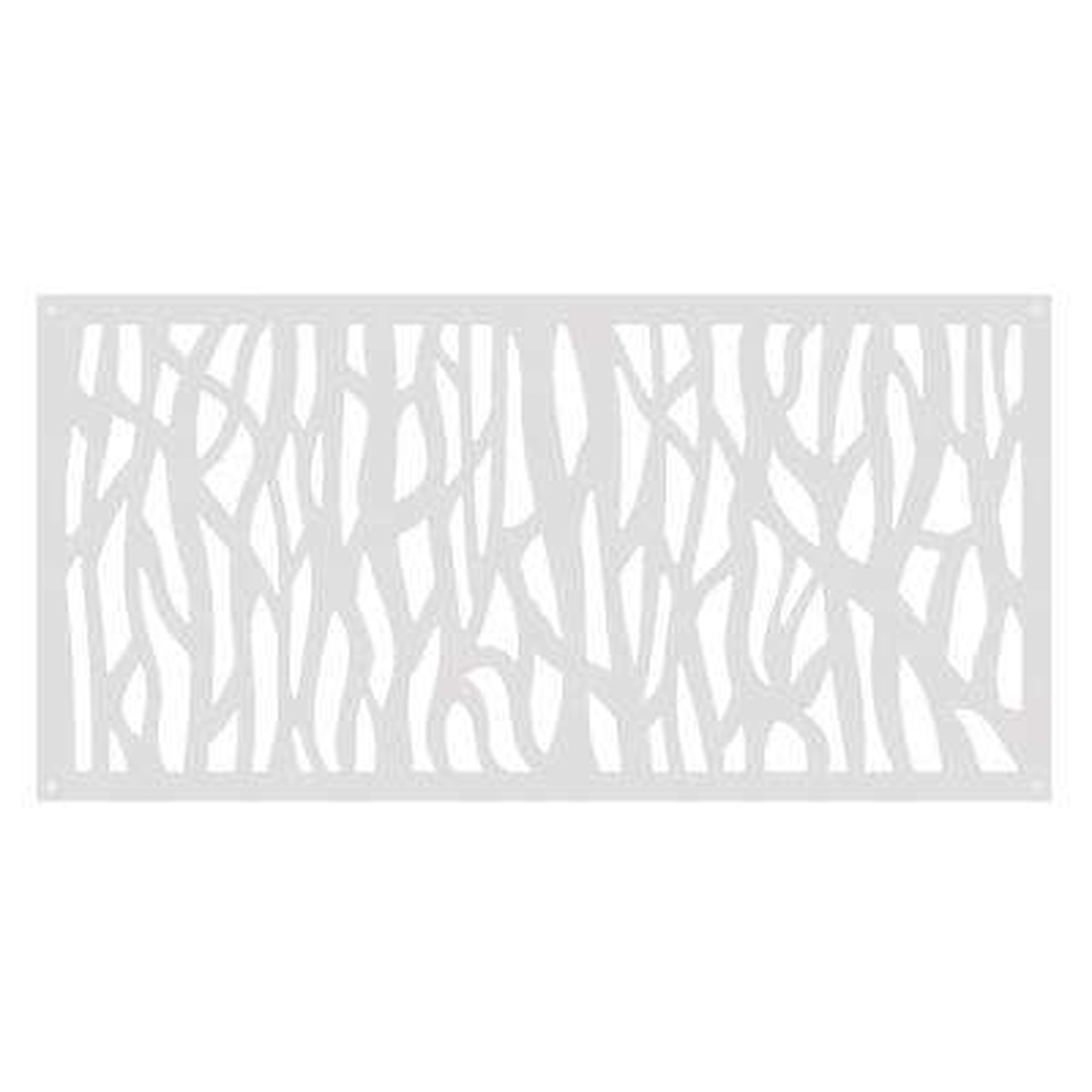 2 ft. x 4 ft. Sprig White Vinyl Decorative Screen Panel