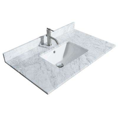 Sheffield 36 in. W x 22 in. D Marble Single Basin Vanity Top in White with White Basin