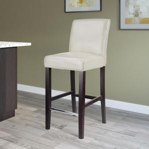 Antonio 31 in. White Bonded Leather Bar Stool