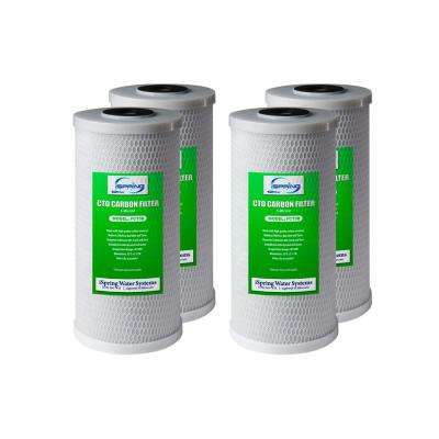 10 in. 5-Micron Big Blue Carbon Block (CTO) Water Filter Replacement Cartridge (4-Pack)