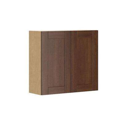 Ready to Assemble 33x30x12.5 in. Lyon Wall Cabinet in Maple Melamine and Door in Medium Brown