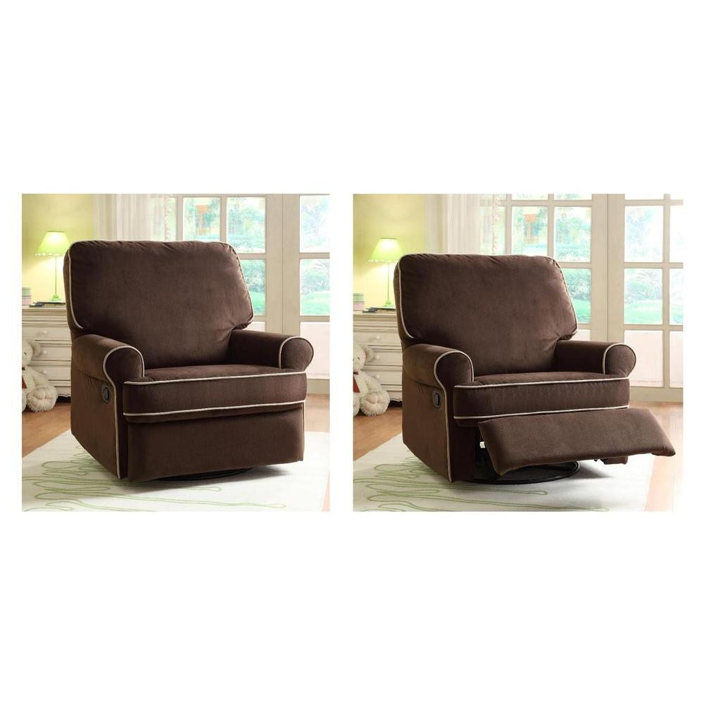 PRI Birch Hill Coffee Brown Fabric Swivel Recliner