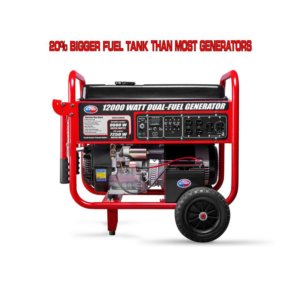 All Power 12,000-Watt Dual Fuel Propane and Gasoline Powered Electric Start Portable Generator