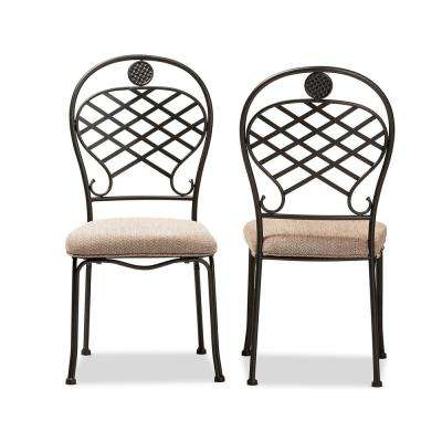 Hera Beige and Black Fabric Dining Chair (Set of 2)