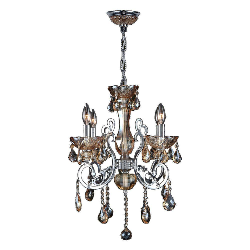 Kronos 4-Light Polished Chrome and Amber Crystal Chandelier