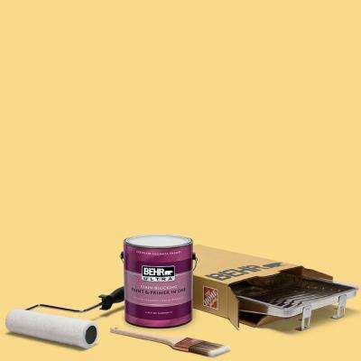 1 gal. #P280-4 Surfboard Yellow Ultra Eggshell Enamel Interior Paint and 5-Piece Wooster Set All-in-One Project Kit
