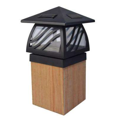 1-Light Black Outdoor Integrated LED Solar Powered Post Cap Light