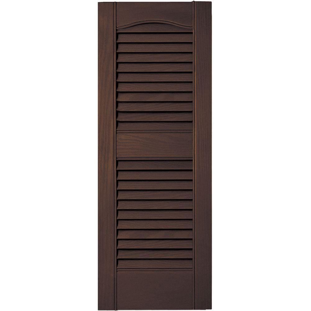 12 in. x 31 in. Louvered Vinyl Exterior Shutters Pair #009