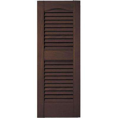 12 in. x 31 in. Louvered Vinyl Exterior Shutters Pair #009 Federal Brown