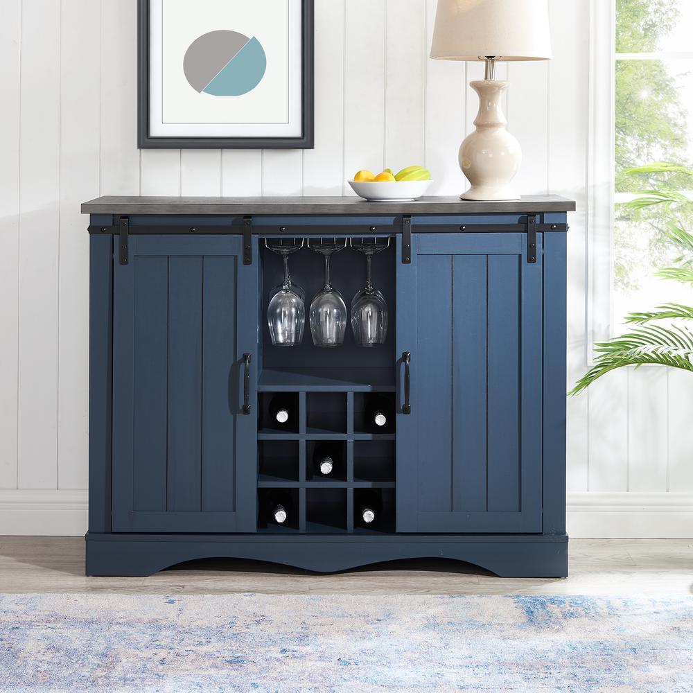 Deals on FESTIVO 47 in. Navy Blue Wood Buffet Bar Cabinet FWC21132