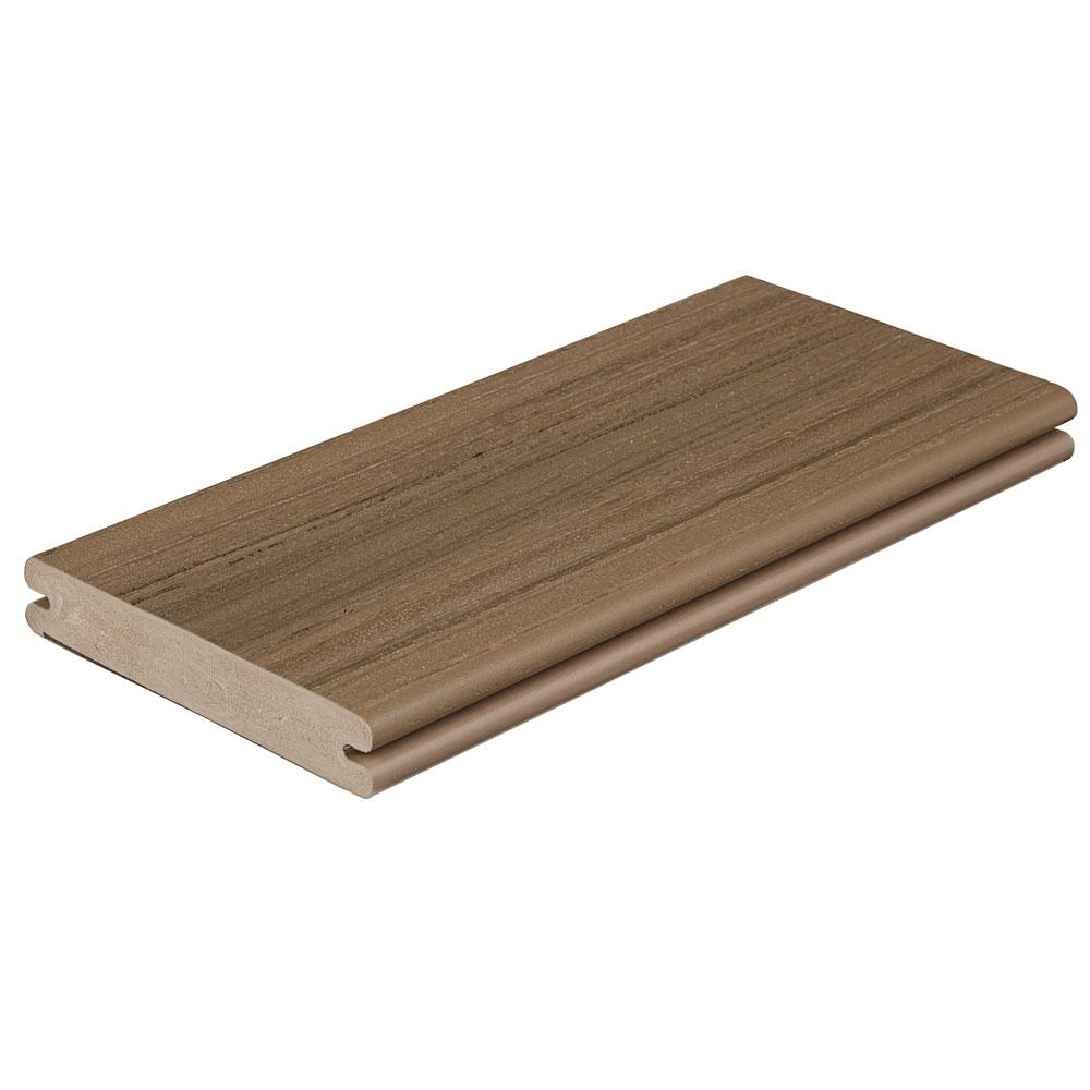 Fiberon paramount 1 in x 5 4 9 in x 1 ft brownstone for Capped composite decking