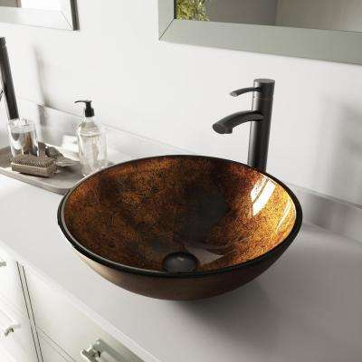 Glass Vessel Bathroom Sink in Russet and Milo Faucet Set in Antique Rubbed Bronze