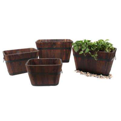 Barrel Style 27 in. W x 18 in. D x 16 in. H Rectangular Wooden Brown Planters (4-Pack)