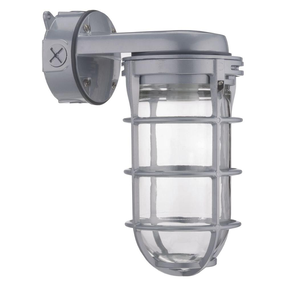 Lithonia Lighting 150w Incandescent Utility Vapor Tight Wall Mount Light Exterior Wire Cage Sconce Lamp Industrial Fixture
