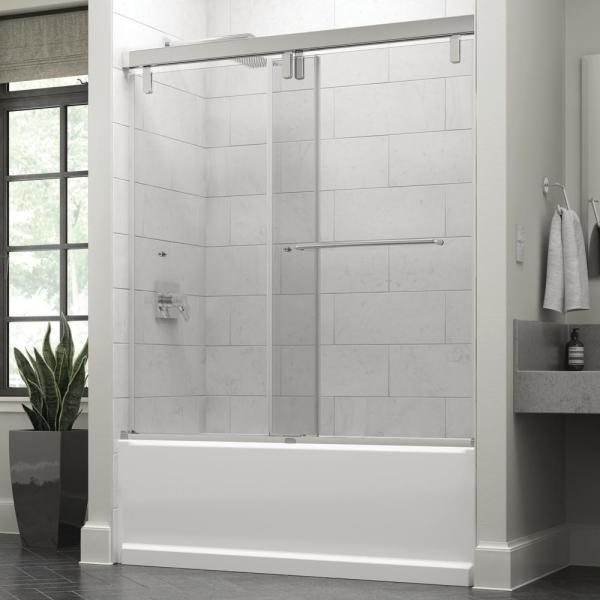 Simplicity 60 x 59-1/4 in. Frameless Mod Soft-Close Sliding Bathtub Door in Chrome with 3/8 in. (10mm) Clear Glass