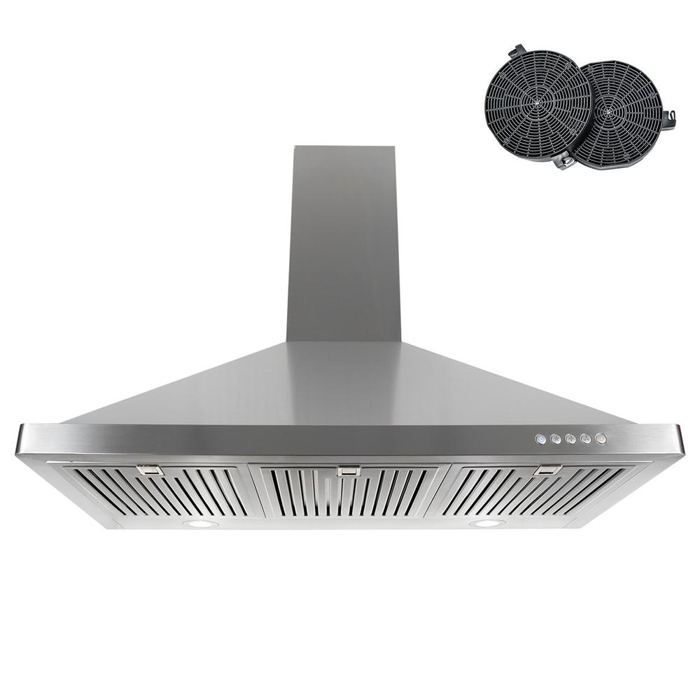 36 in. Ductless Wall Mount Range Hood in Stainless Steel with