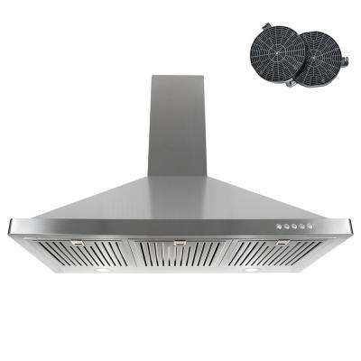 36 in. Ductless Wall Mount Range Hood in Stainless Steel with LED Lighting and Carbon Filter Kit for Recirculating
