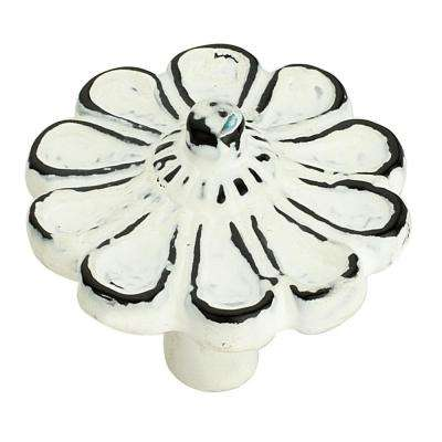 Cosmo Flower 1-5/6 in. (47 mm) Distressed White Patina Cabinet Knob