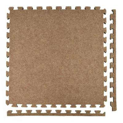 Royal Carpet Tan Velour Plush 2 ft. x 2 ft. x 5/8 in. Interlocking Carpet Tile 96.875 sq. ft. (25 Tiles/Case)