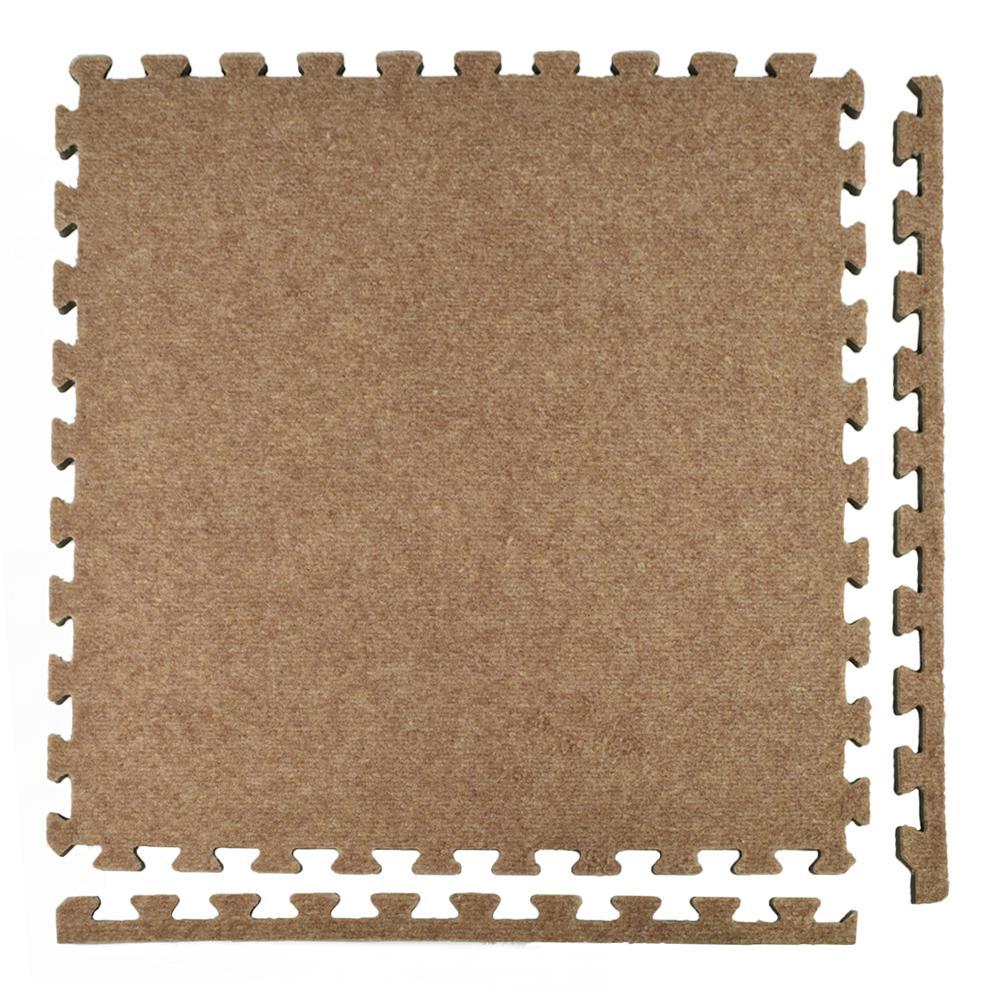 Royal Carpet Tan Velour Plush 2 ft. x 2 ft. x 5/8 in. Interlocking Carpet Tile 96.875 sq. ft. (25 tiles per Case)