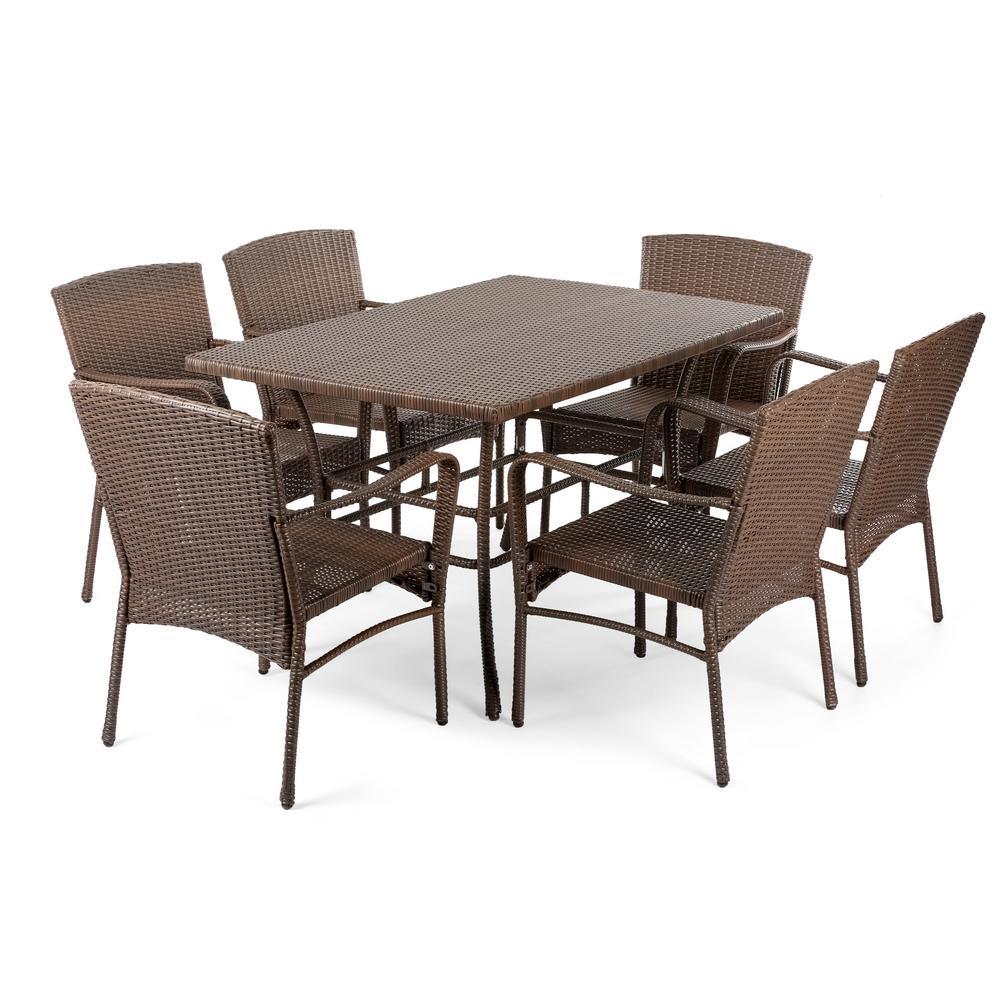 Leisure 7-Piece Wicker Outdoor Dining Set