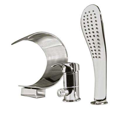 Taj 1-Handle Deck-Mount Roman Tub Faucet with Handshower in Chrome