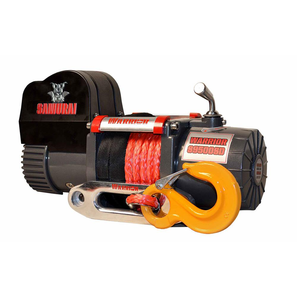 Detail K2 Samurai Series 9,500 lb. Capacity Short Drum 12-Volt Electric Winch with 46 ft. Synthetic Rope and Stainless Fairlead