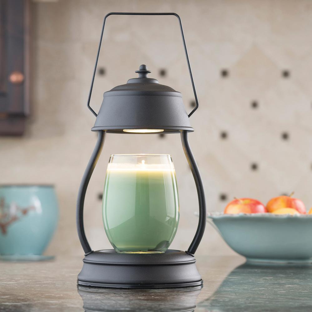 11.5 in. Black Hurricane Candle Warmer Lantern