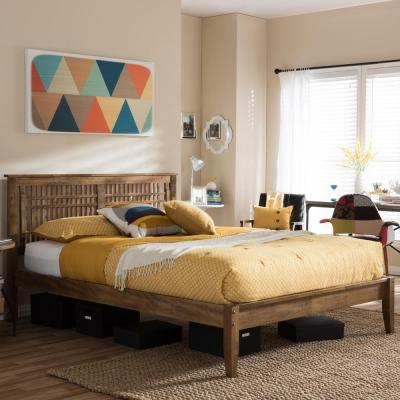 Loafey Medium Brown Queen Platform Bed
